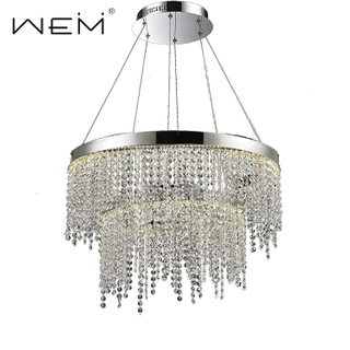 Interior Decorative Large Circle Chandelier Luxury Pendant Light Crystal Chain Modern Led Pendant Light