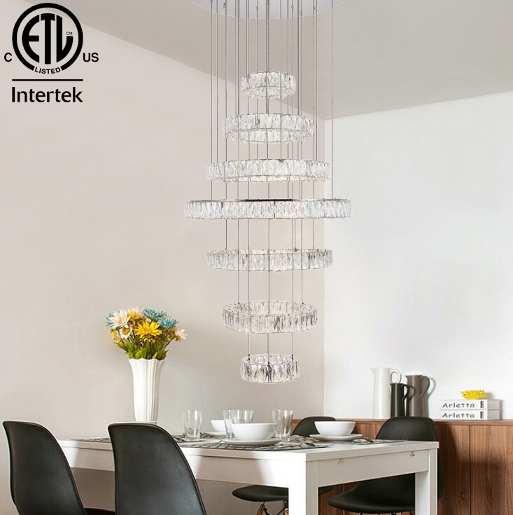 Contemporary LED Chandelier Lighting Hotel Lobby Decor Led Crystal Pendant Light Made in China