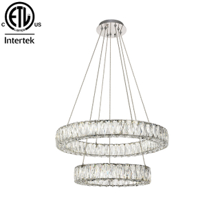 Concise Style Round Chandelier Crystal Hanging Lamps LED Circle Double Pendant Light for Hotel And Home